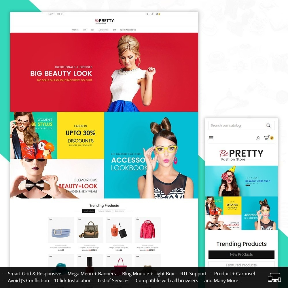 theme - Fashion & Shoes - BePretty Fashion Store - 1
