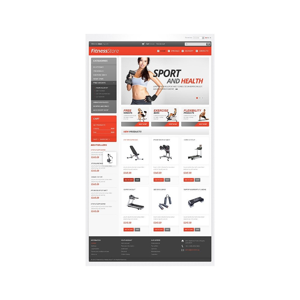 theme - Спорт и Путешествия - White Fitness PrestaShop Theme by Hermes - 1