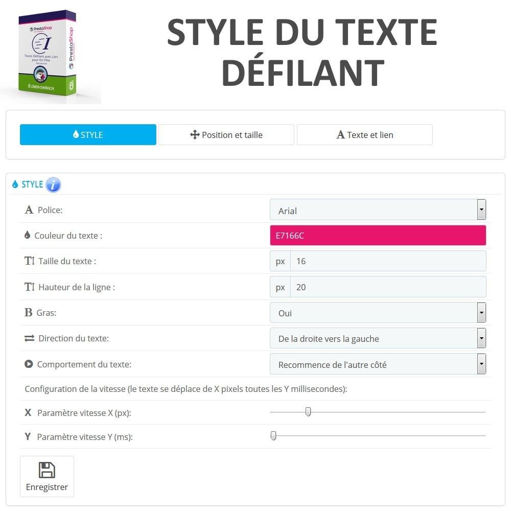 module - Blocs, Onglets & Bannières - Texte Défilant avec Lien pour En-Tête - 3
