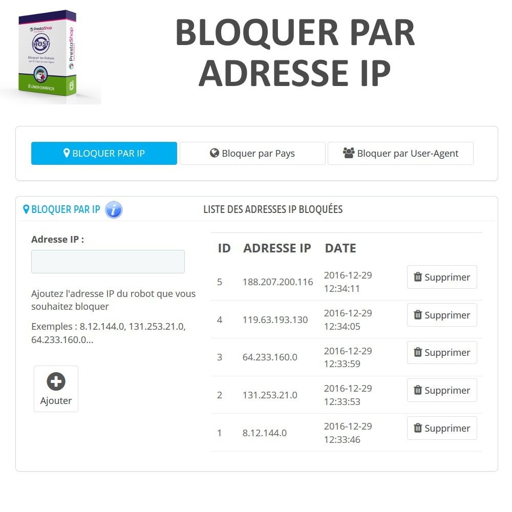 module - Sécurité & Accès - Bloquer Robots / Utilisateurs par IP, Pays, User-Agent - 2