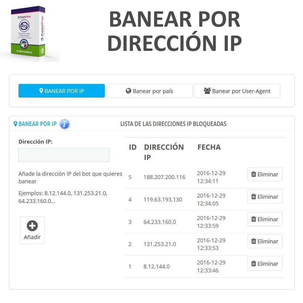 module - Seguridad y Accesos - Bloquear Bots / Usuarios por IP, País o User-Agent - 2