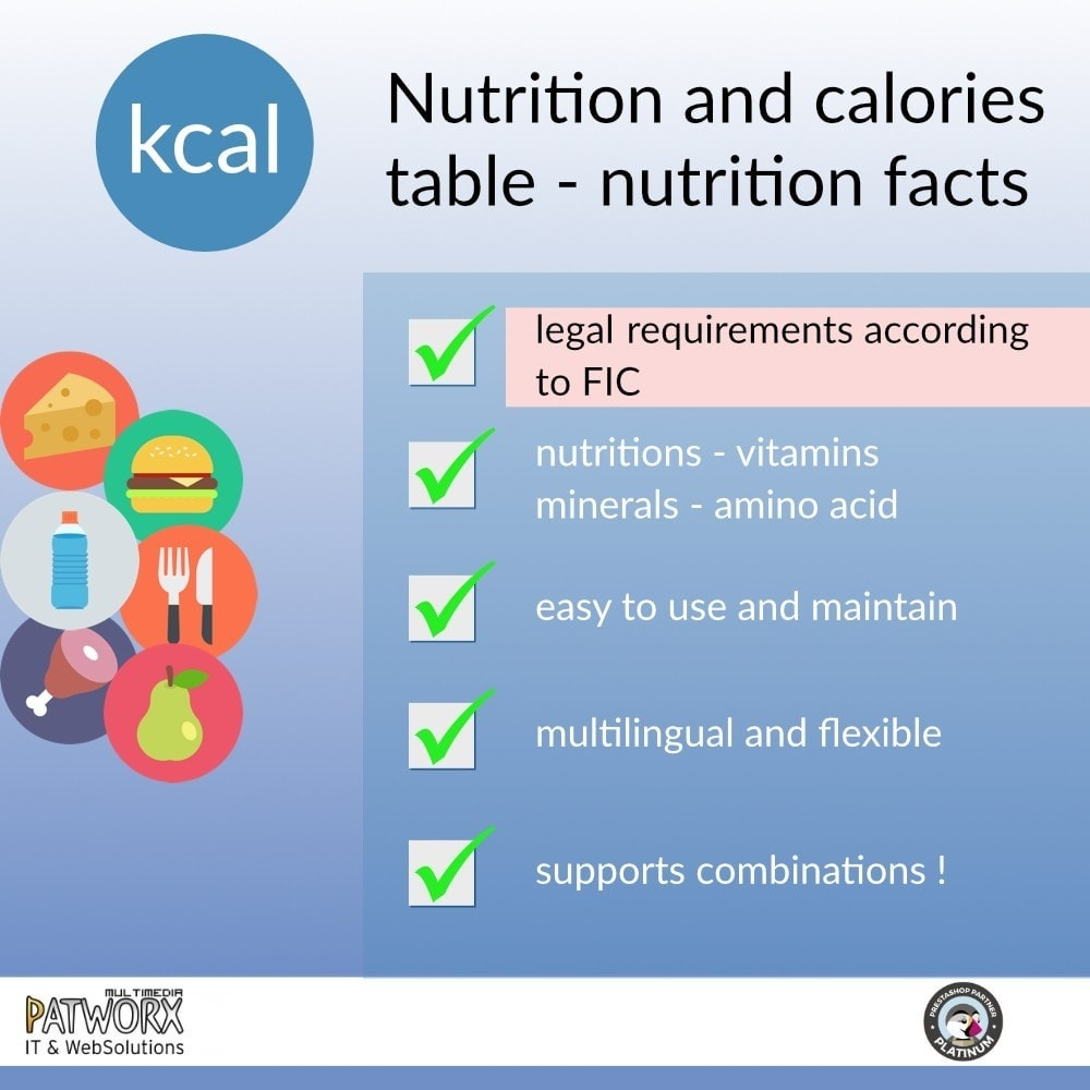 module - Food & Restaurants - Nutrition panel / Nutrition Facts subjected to FIC - 2