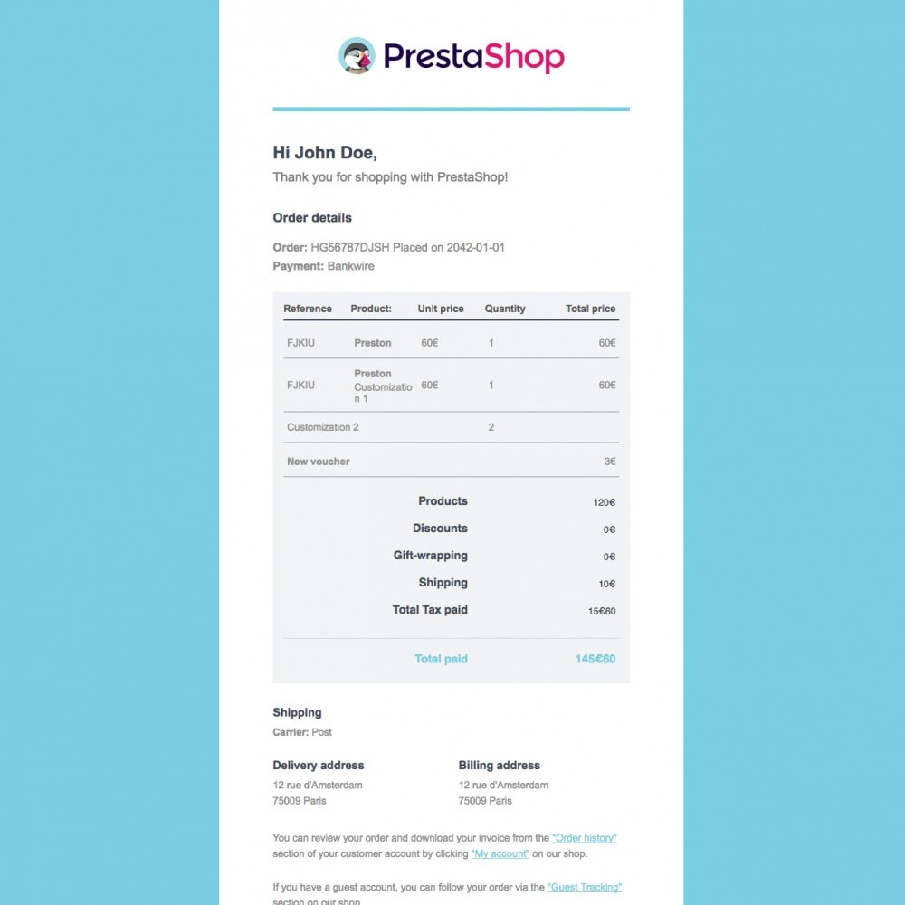 Sendy - Plantilla de emails by PrestaShop