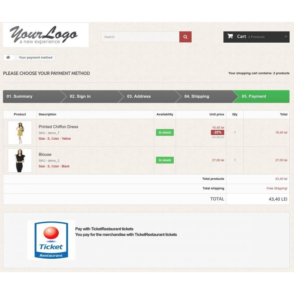 module - Andere Zahlungsmethoden - Ticket Restaurant or Chèque Déjeuner payment gateway - 1
