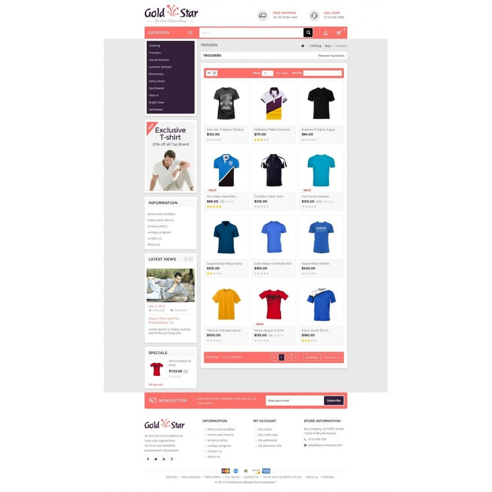theme - Мода и обувь - Gold Star T-Shirt Store - 3