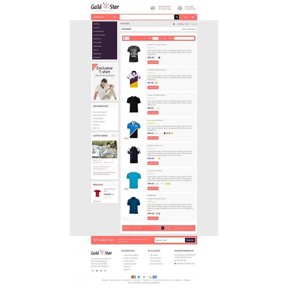 theme - Мода и обувь - Gold Star T-Shirt Store - 4