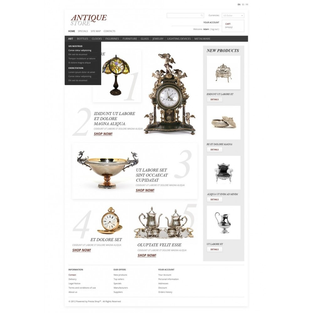theme - PrestaShop Templates - Antique Items World - 4