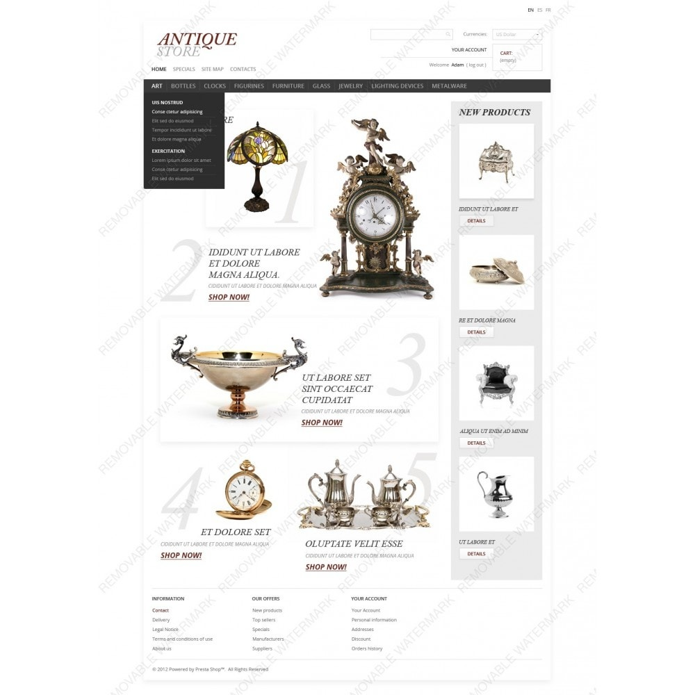 theme - PrestaShop Templates - Antique Items World - 6