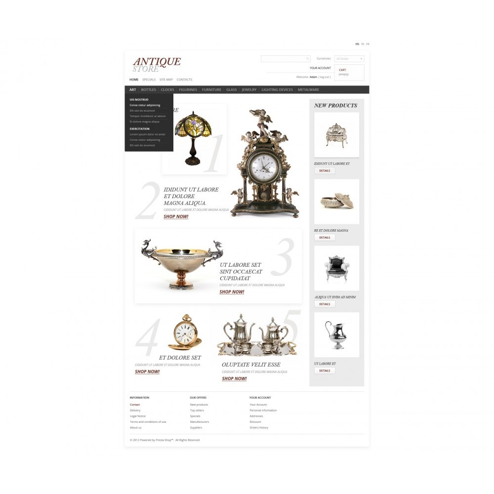 theme - PrestaShop Templates - Antique Items World - 7