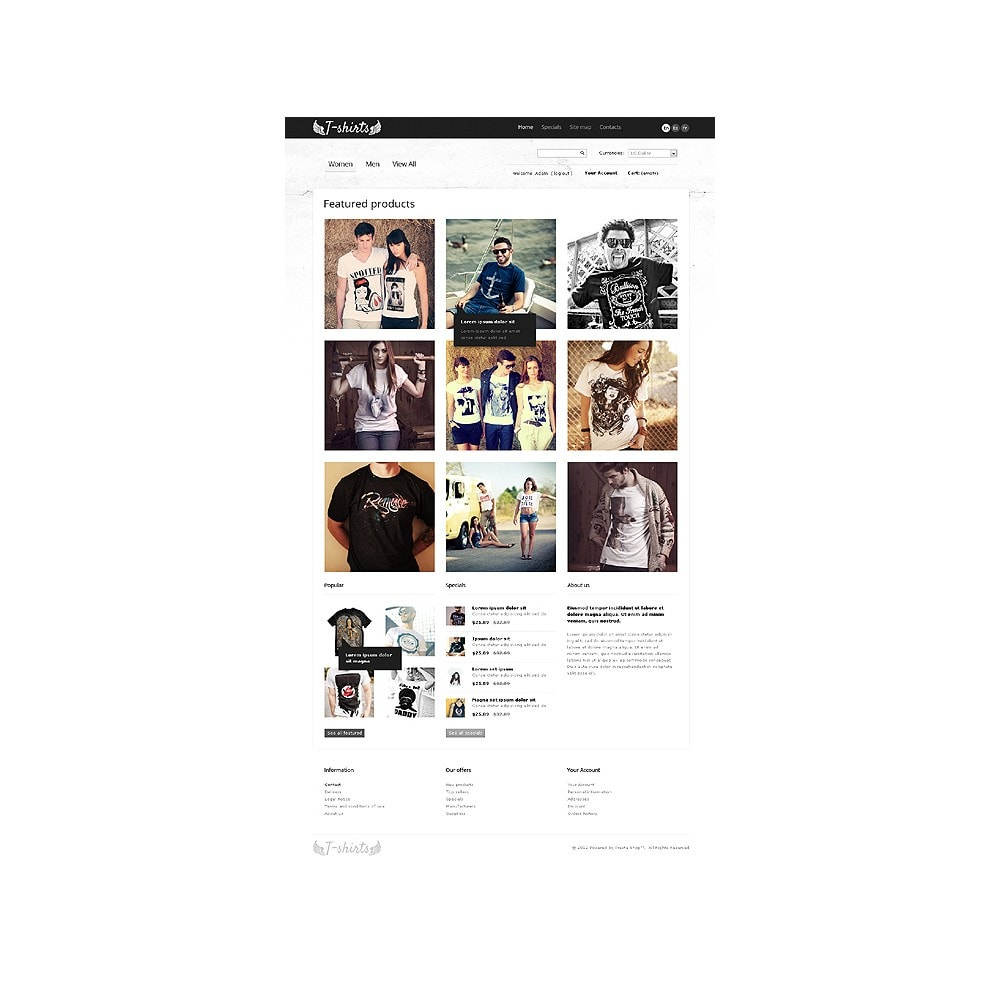theme - Шаблоны PrestaShop - Grungy T-Shirts Online - 1