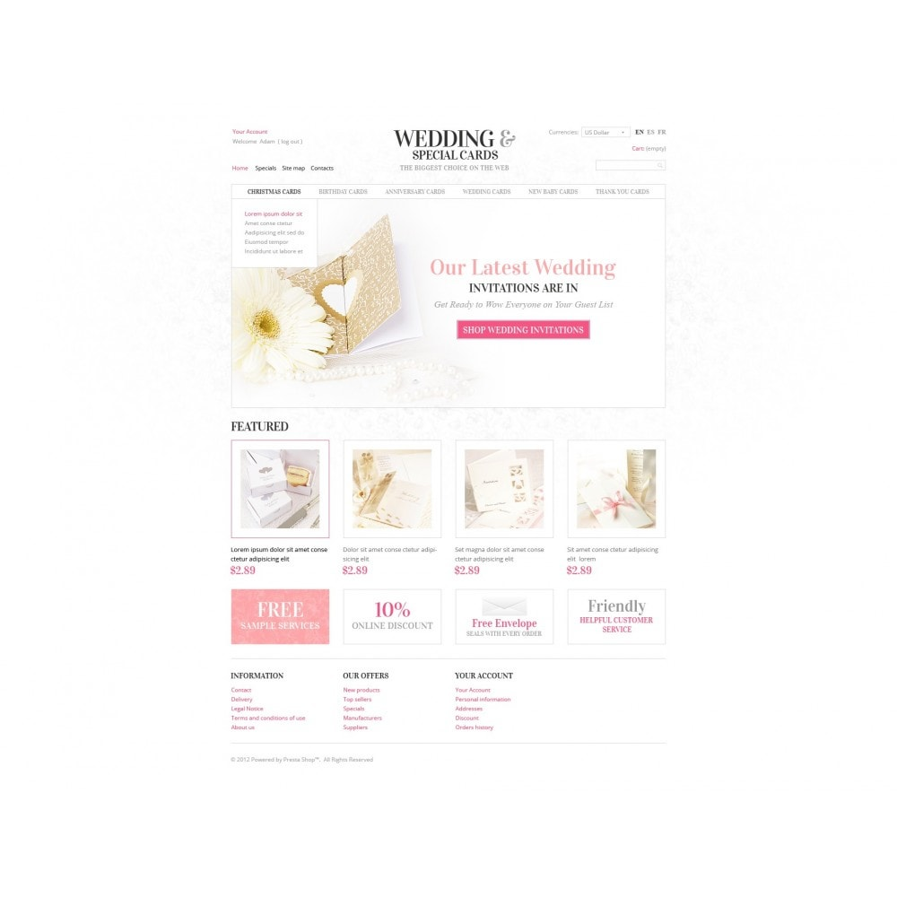 theme - Template PrestaShop - Wedding Invitations - 7