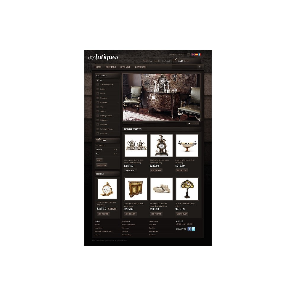 theme - PrestaShop Templates - Antiques Online - 1