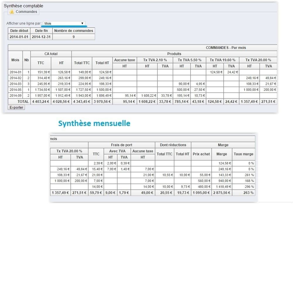 module - Comptabilité & Facturation - Synthèse comptable avec TVA - 9