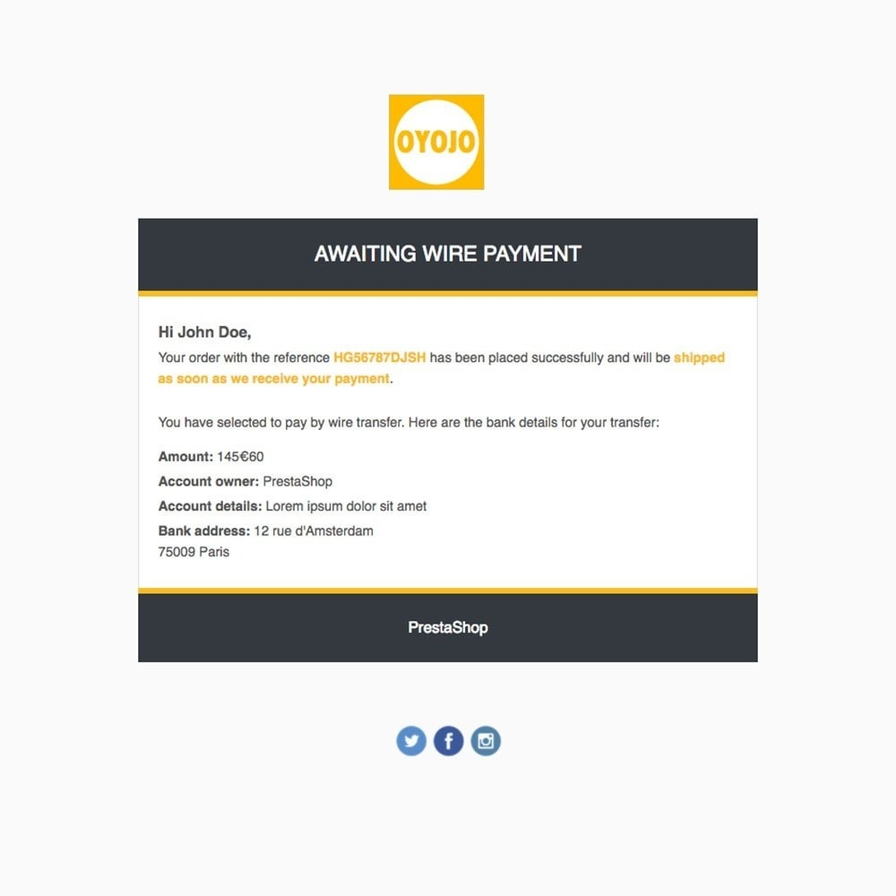 email - PrestaShop email templates - Oyojo - Email templates - 2