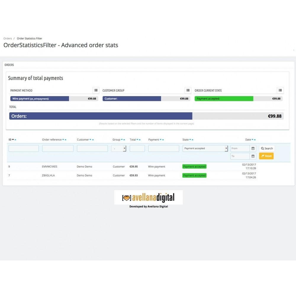 module - Analysen & Statistiken - Order statistics filter - 3