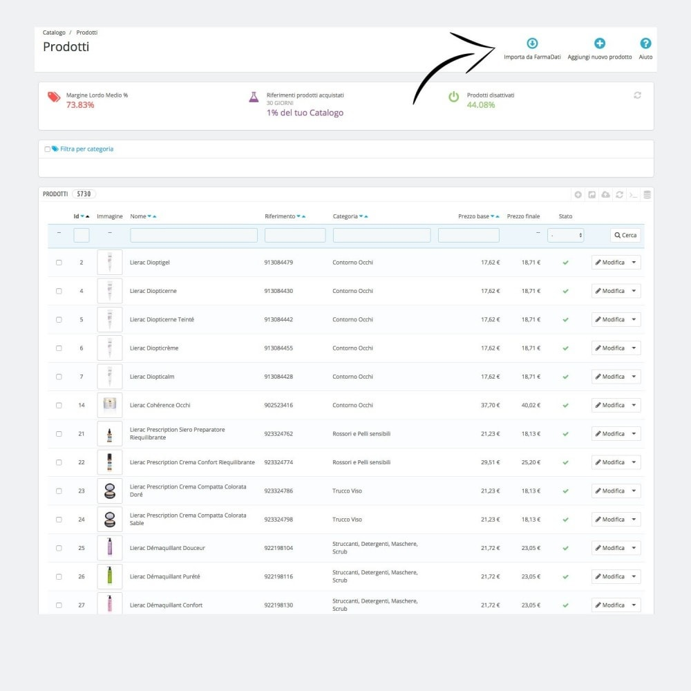 module - Importação & exportação de dados - Farmadati product import - 1
