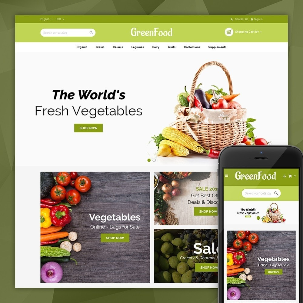 theme - Food & Restaurant - Green Food Store - 1