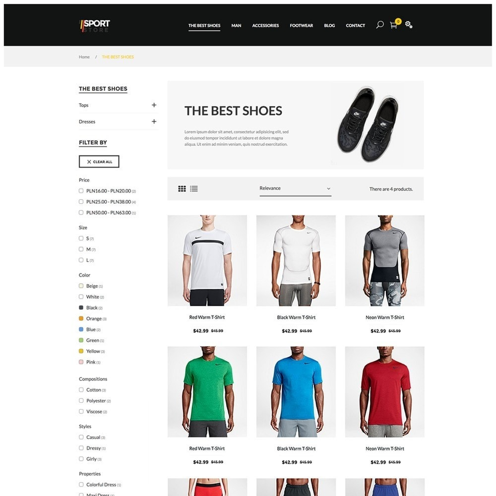 Sport Store by PrestaHome, Clothes & Equipment