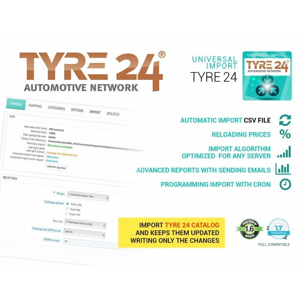 module - Импорт и Экспорт данных - Import from Tyre24 dropshipping to Prestashop - 1