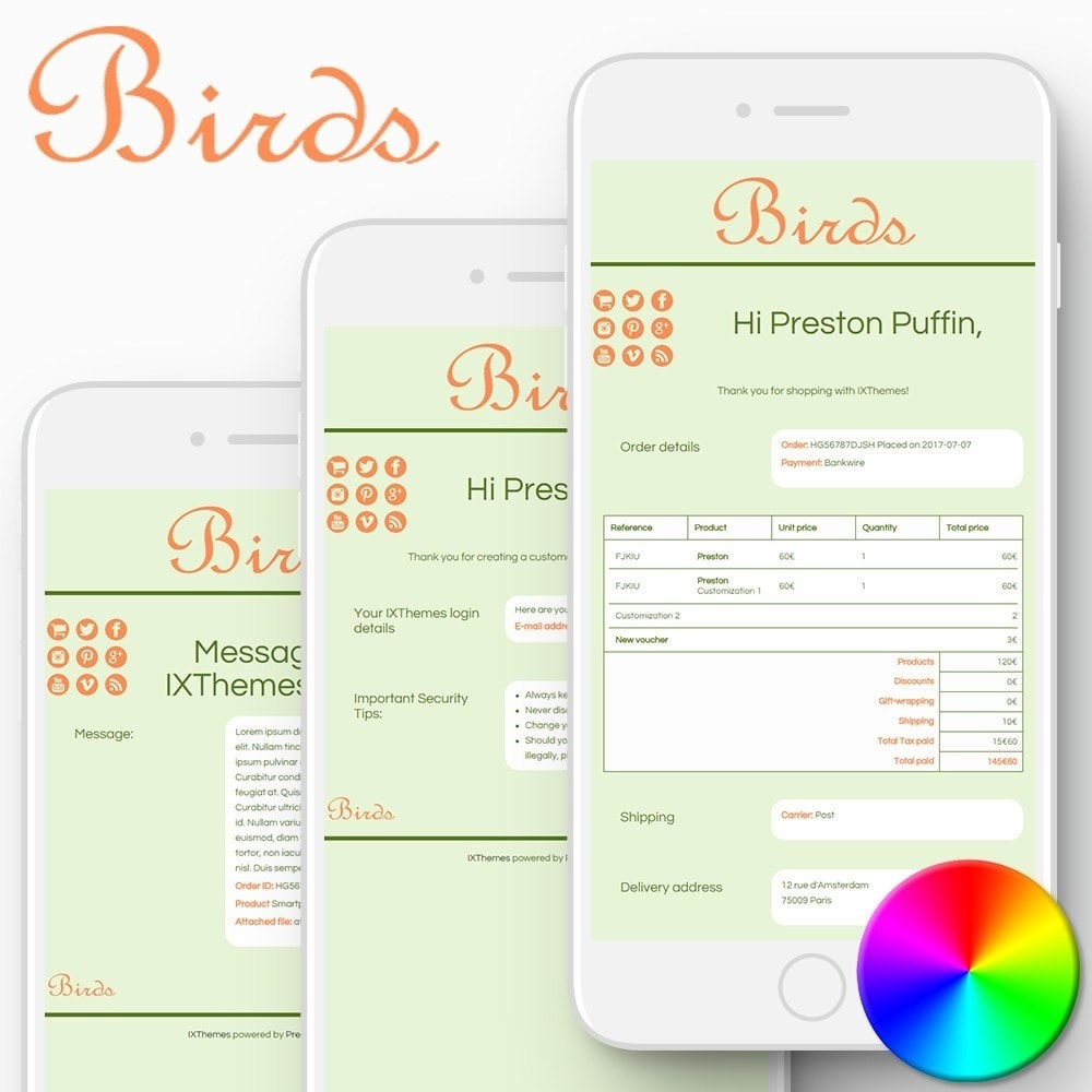 email - PrestaShop email templates - Birds - Email templates - 1