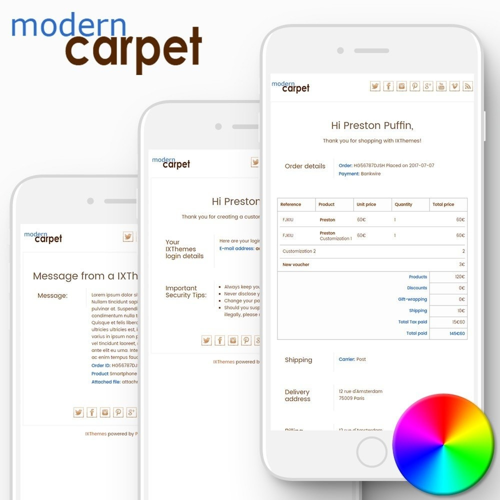 Modern Carpet - Email templates