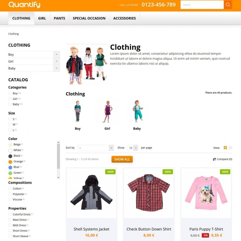 theme - Kinder & Spielzeug - Quantify - Kids Clothes - 4