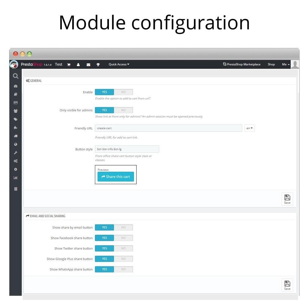 module - Кнопки 'Рассказать друзьям' и комментариев - Share and save cart - Create cart from URL - 3