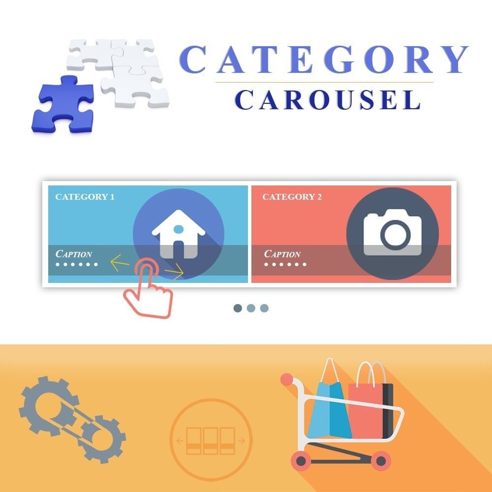 module - Слайдеров (карусельных) и галерей - Responsive Carousel with Categories - 1