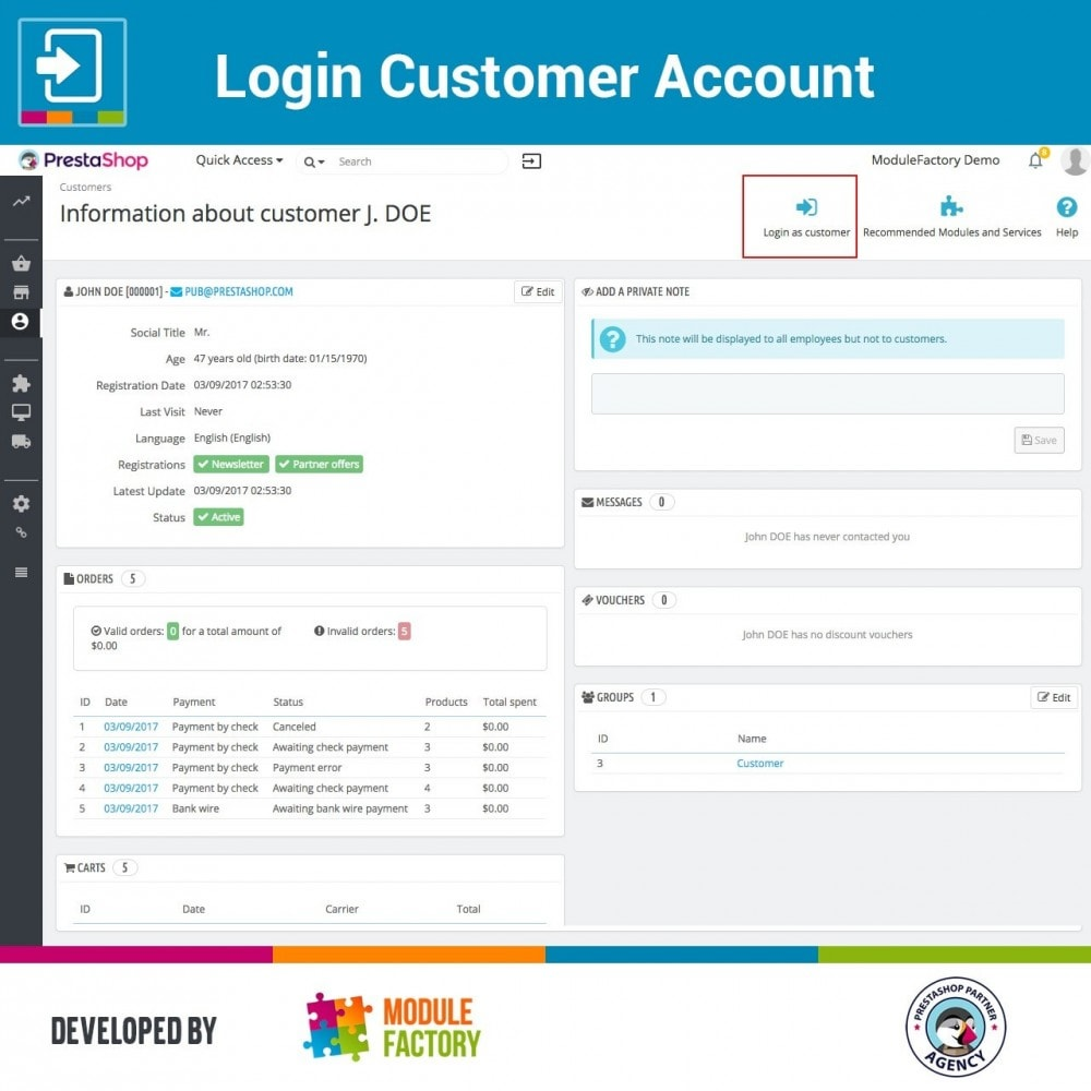module - Service Client - Login Customer Account - 3