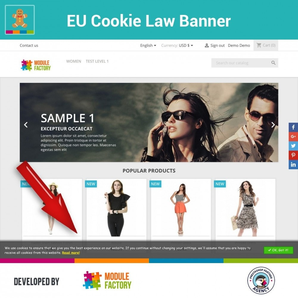 module - Jurídico - EU Cookie Law Alert Banner and Cookie Blocker - 1
