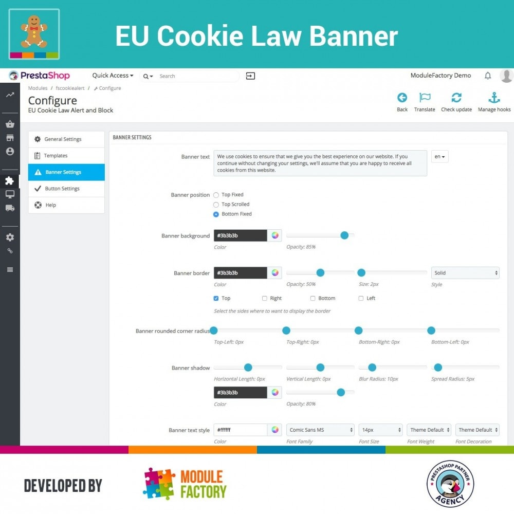 module - Jurídico - EU Cookie Law Alert Banner and Cookie Blocker - 7