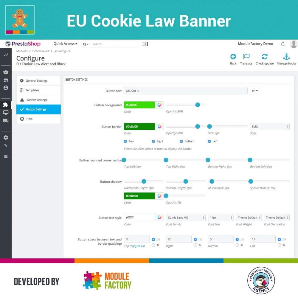 module - Marco Legal (Ley Europea) - EU Cookie Law Alert Banner and Cookie Blocker - 8