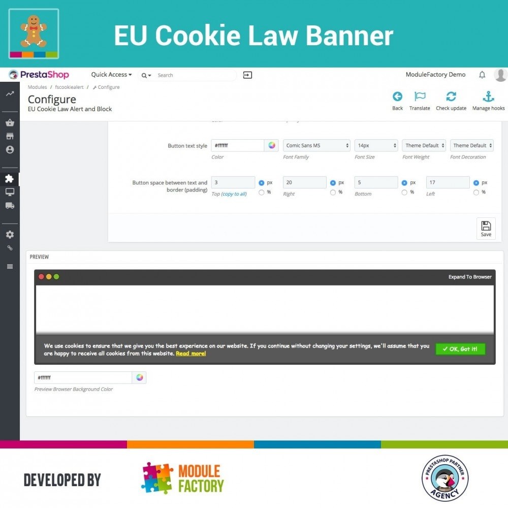 module - Wzmianki prawne - EU Cookie Law Alert Banner and Cookie Blocker - 9