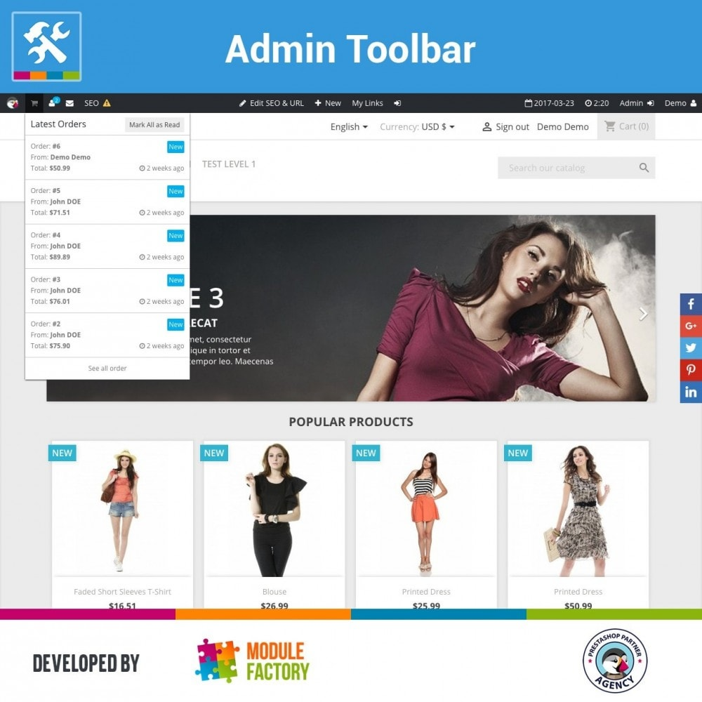 module - Administrationstools - Admin Toolbar in Front Office - 1