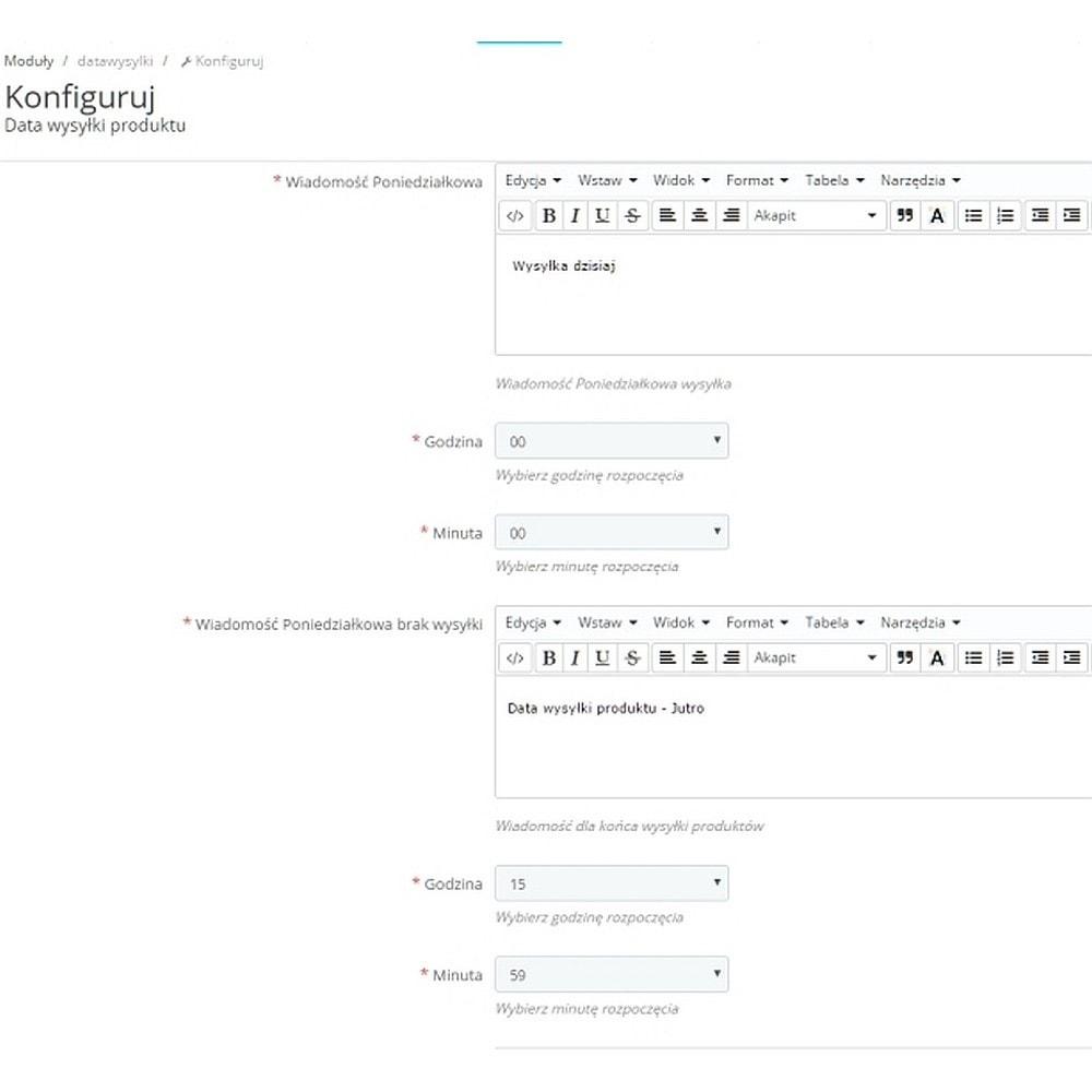 module - Data dostawy - Data wysyłki wiadomość - 3