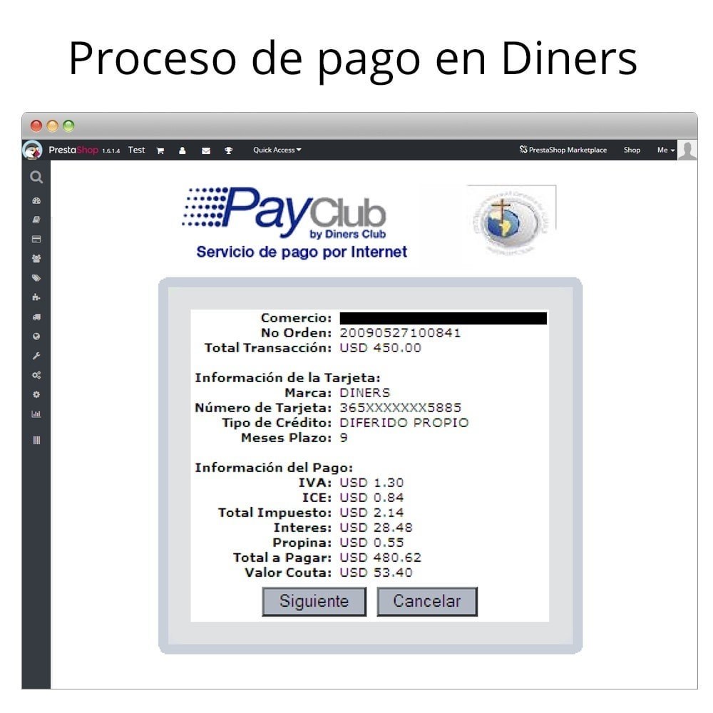 module - Paiement par Carte ou Wallet - Interdin PayClub By Diners Club - 10