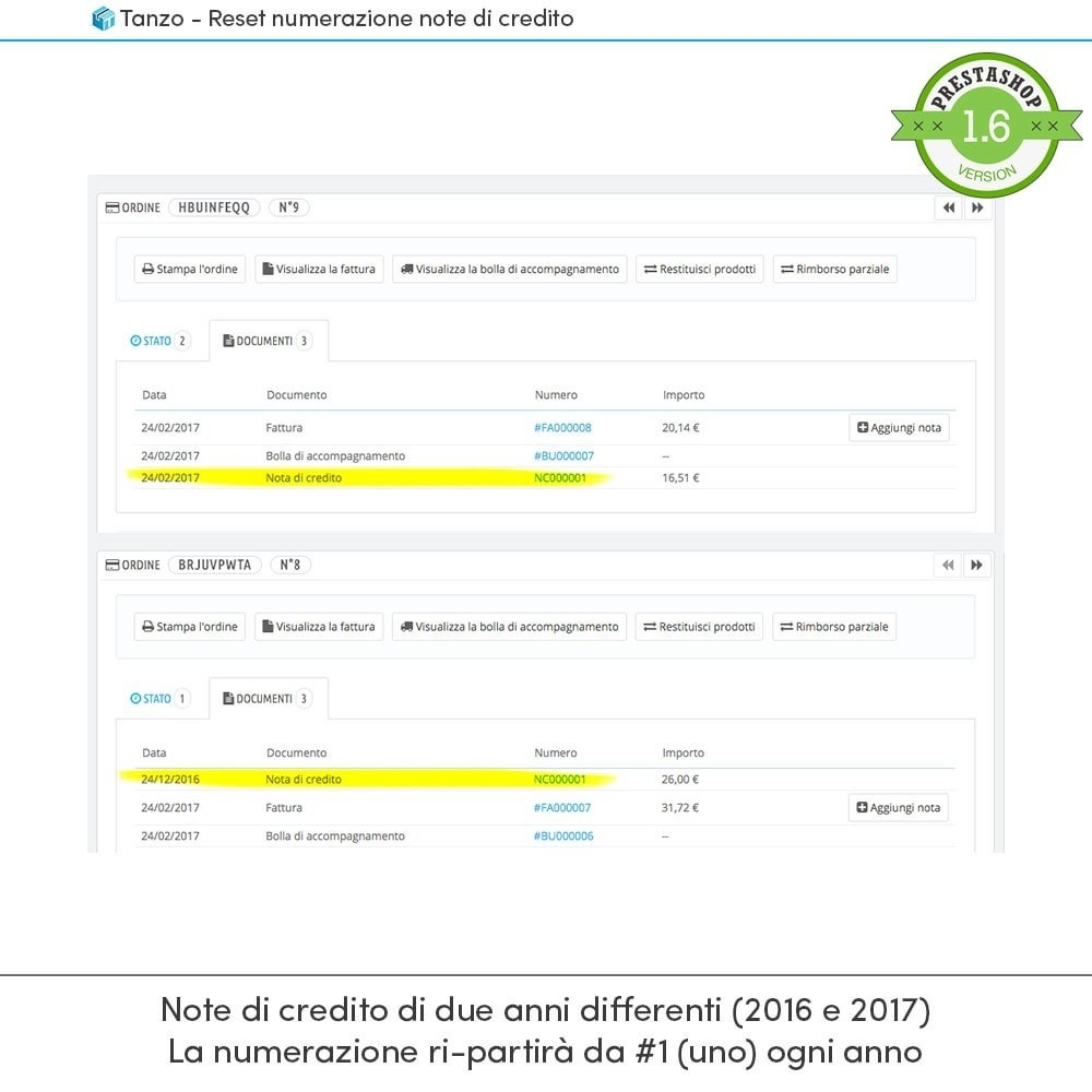 module - Contabilità & Fatturazione - Reset numerazione note di credito - 2