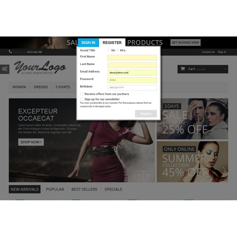 module - Registratie en Proces van bestellingen - Quick PopUp Login(with social Login) Or Register - 2