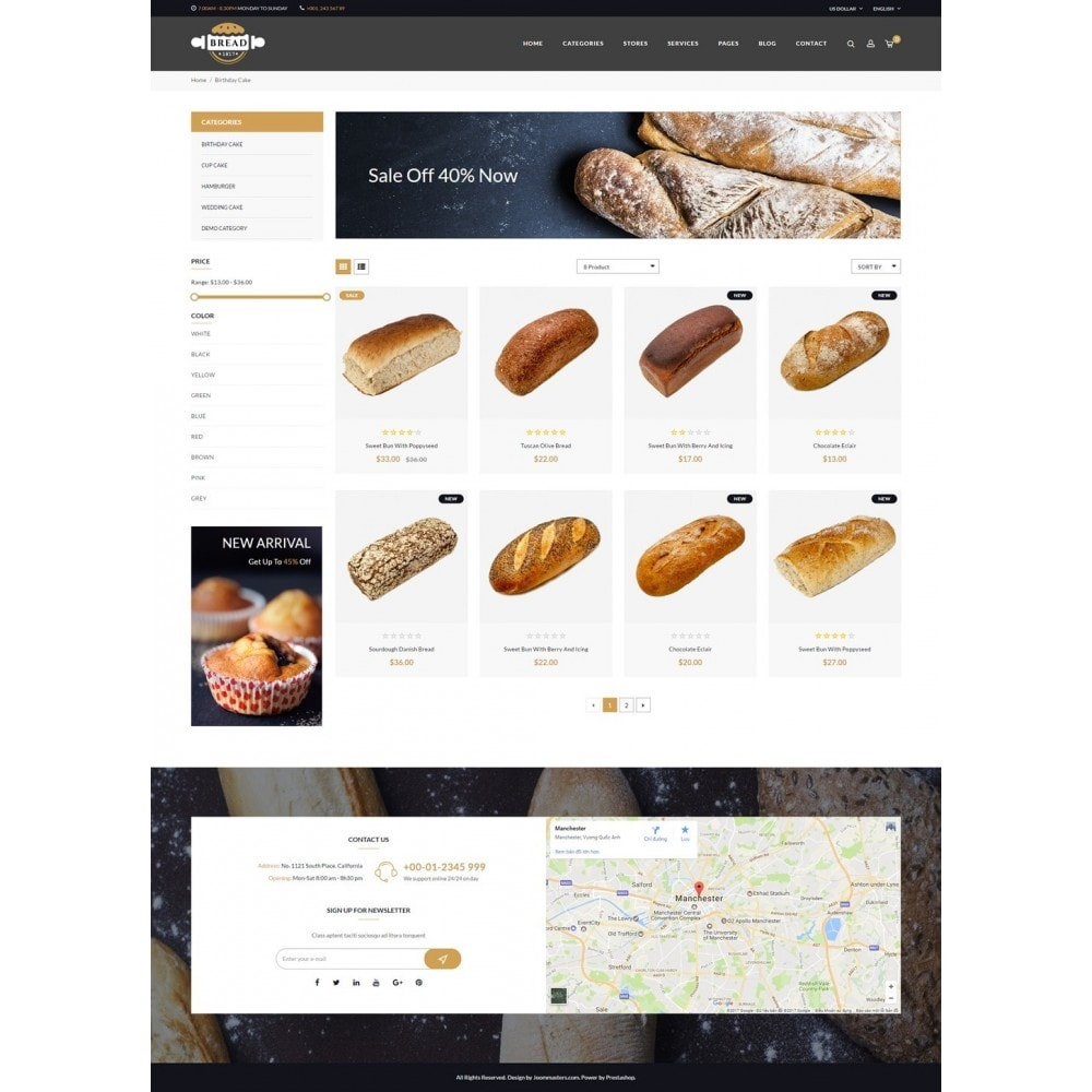 theme - Food & Restaurant - JMS Bread - 9