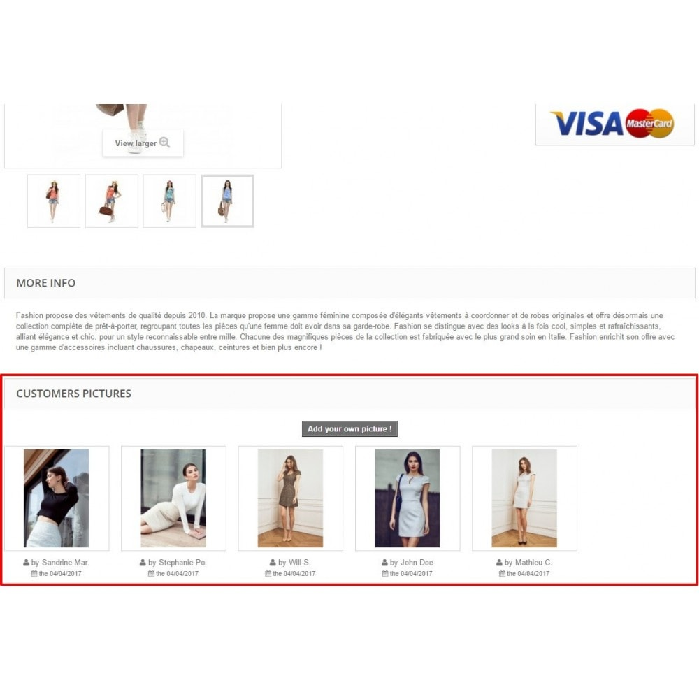 module - Visualizzazione Prodotti - Customers Pictures on your product pages - 1
