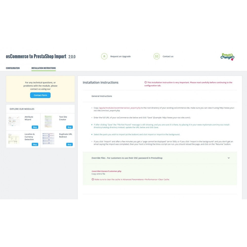 module - Migración y Copias de seguridad - osCommerce to PrestaShop Migration - 3