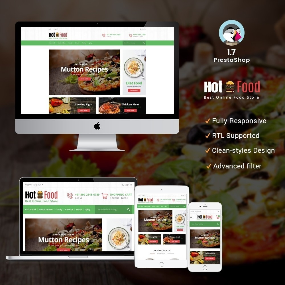 theme - Alimentos & Restaurantes - Hotfood Demo Store - 1