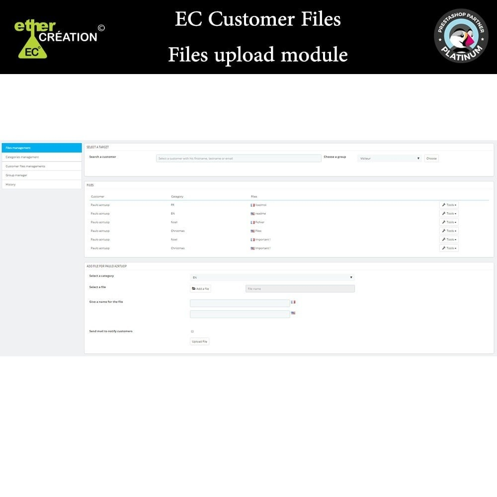 module - Customer Service - Provision of files for customers - 5