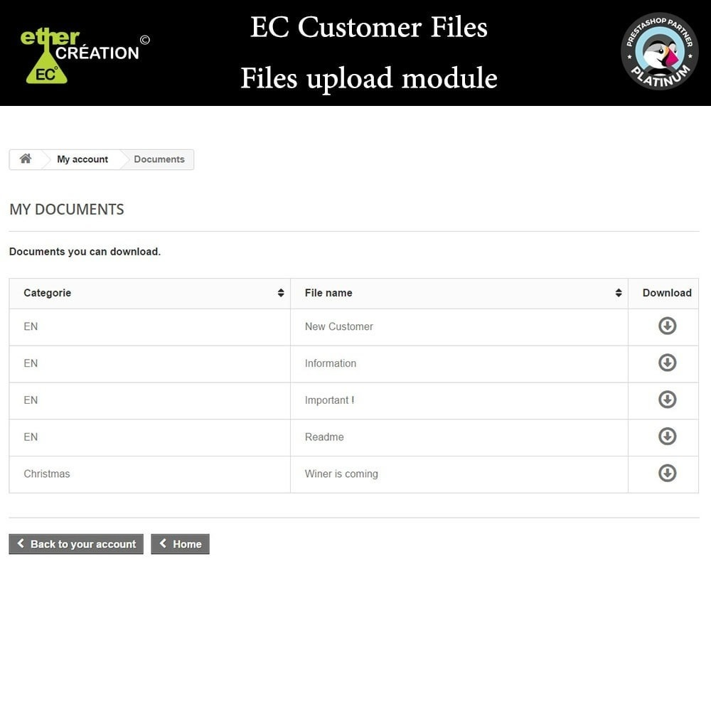 module - Customer Service - Provision of files for customers - 6