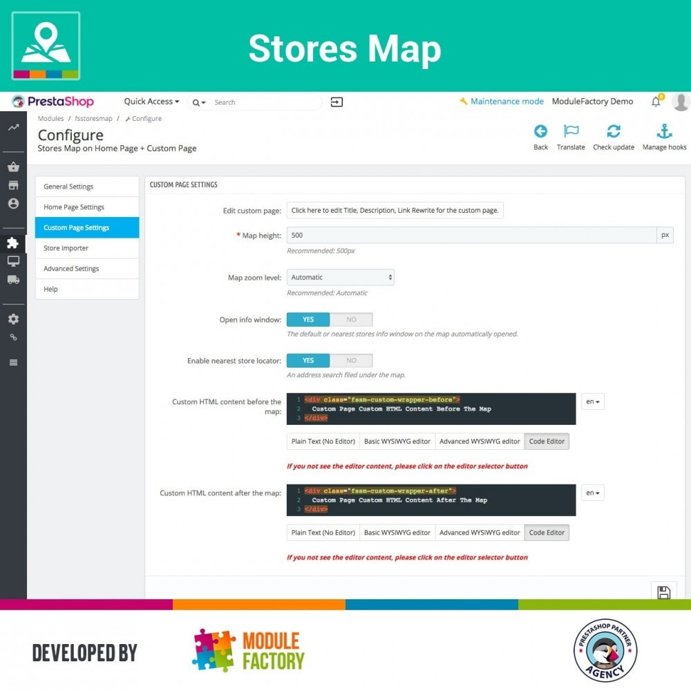 module - Internacional & Localização - Stores Map on Home Page + Custom Page - 7