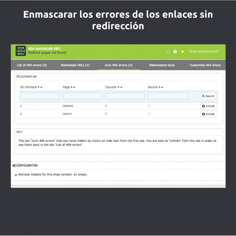 module - URL y Redirecciones - Redirección 404 Manager : Mostrar y redirigir 301,302 - 6