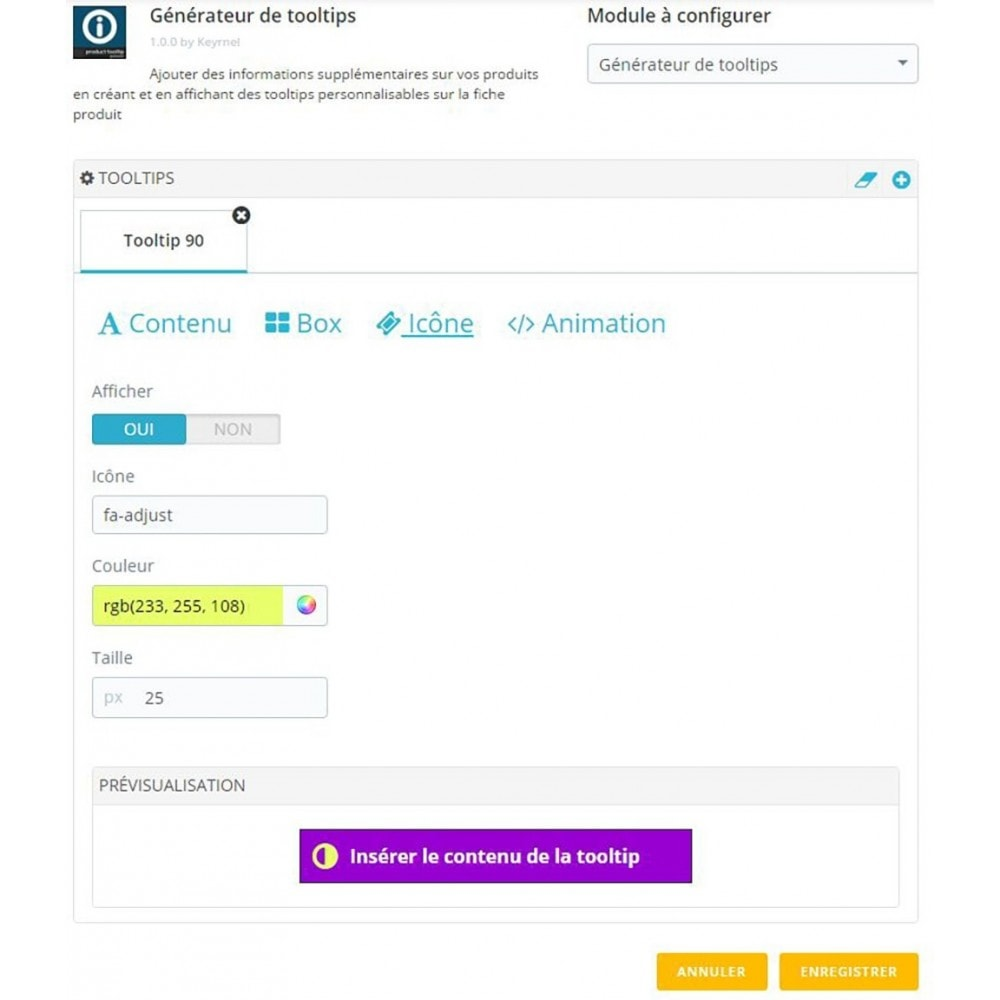 module - Information supplémentaire & Onglet produit - Générateur de tooltips - fiche produit - 4