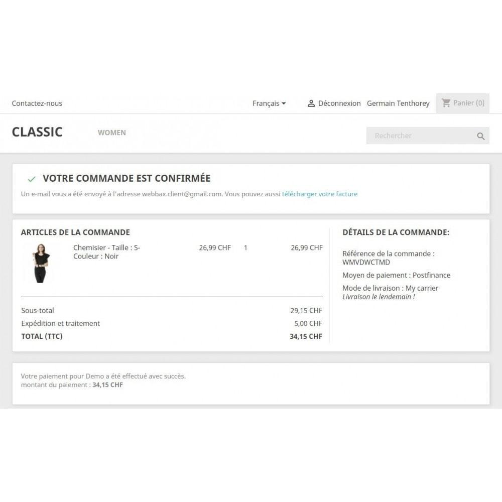 module - Pagamento por cartão ou por carteira - PostFinance & Twint - 6