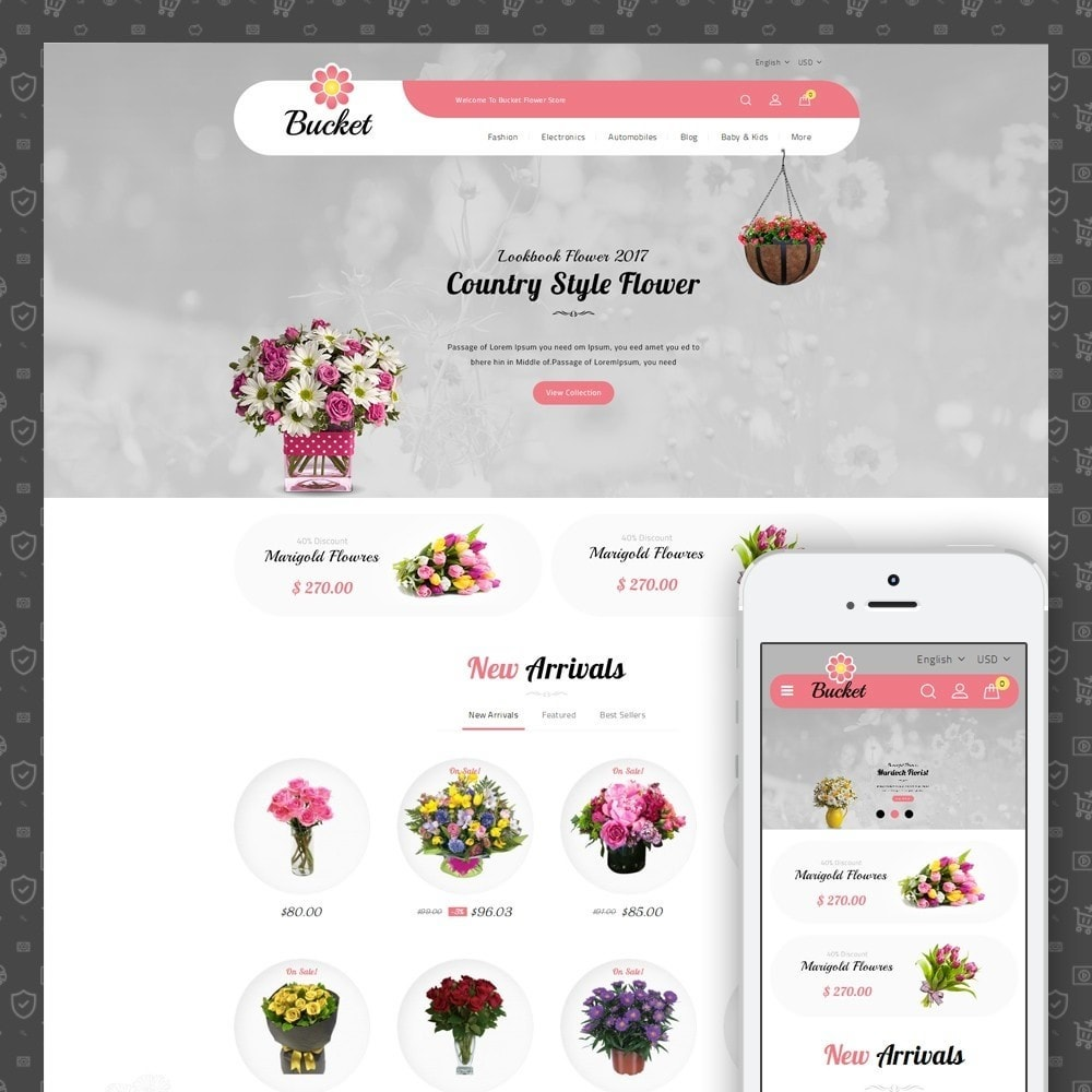 theme - Gifts, Flowers & Celebrations - Bucket Flower Store - 1