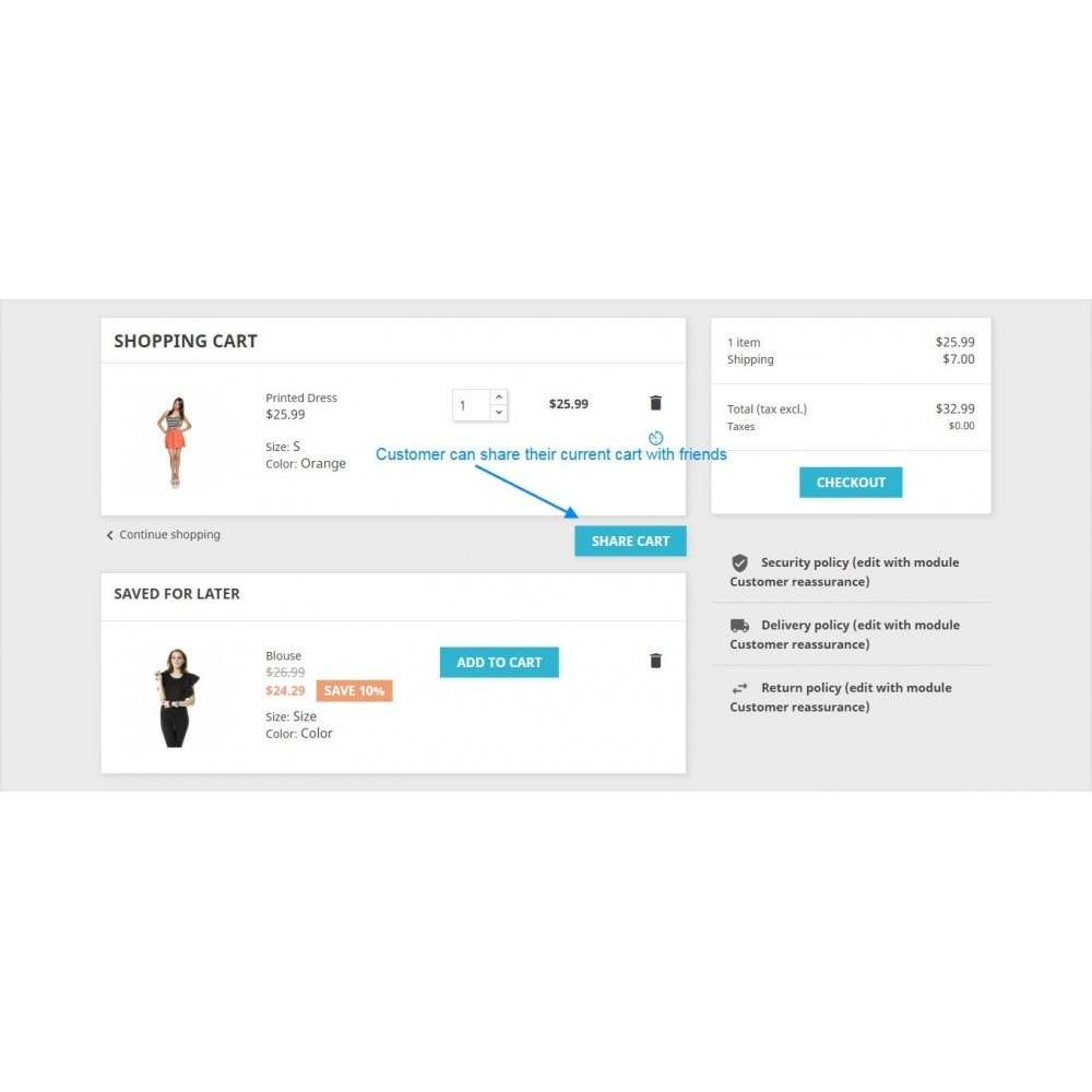module - Inscription & Processus de commande - Save for later and share cart - 12